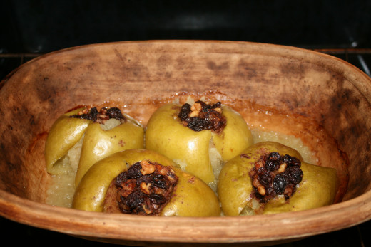 Baked apples are wonderful from a clay pot.