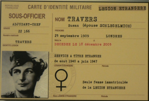 Susan Travers French military identification card, mentioning she is the only woman serving in the French Foreign Legion