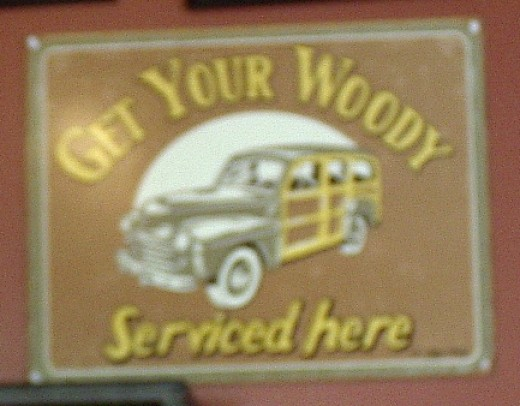"""Darlin', please.   You can see that a woody is a station wagon.  You've got some imagination.   Give us a kiss."""