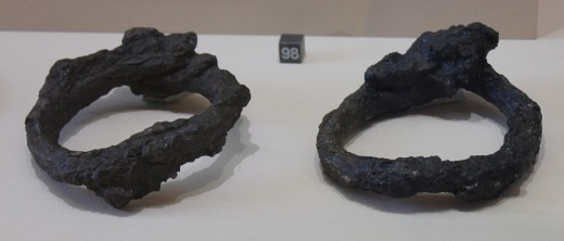 Ankle shankles from Pompeii slave. Colosseum Museum.