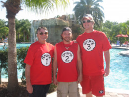 Check out my awesome drink recipes for summer! (None of these guys were drunk - we just liked the shirts!)