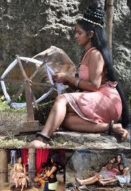 Kuweni was spinning cotton