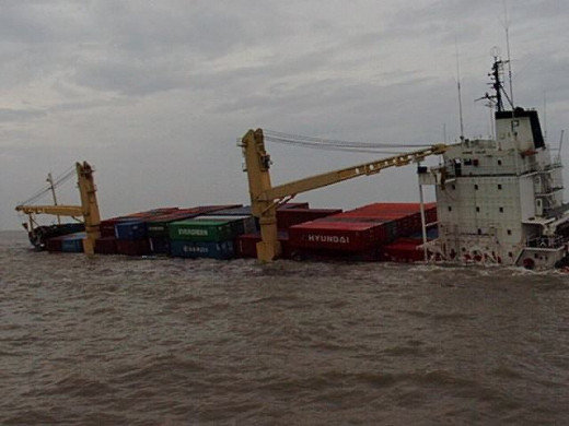 A vessel with cargo on board in distress