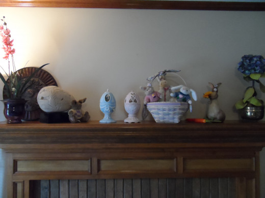Easter decor filling the mantel