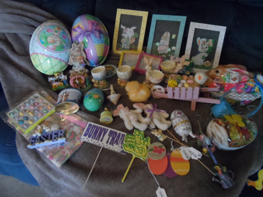 Items collected from the dollar store and a few other inexpensive places. Easter decor on a budget