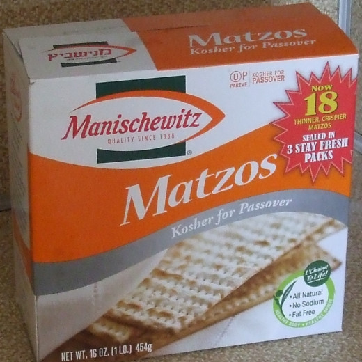 The familiar box of Manischewitz Matzos.