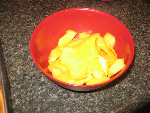 Peel and dice mango.