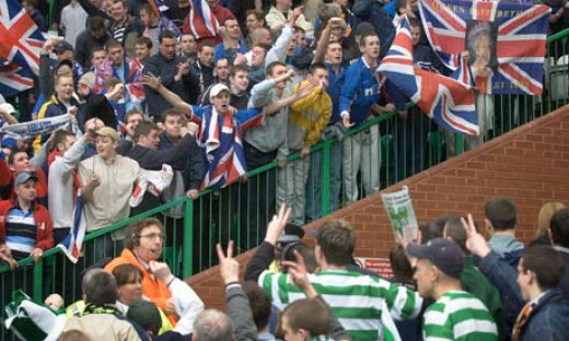 Celtic and Rangers fans confronting over a tunnel