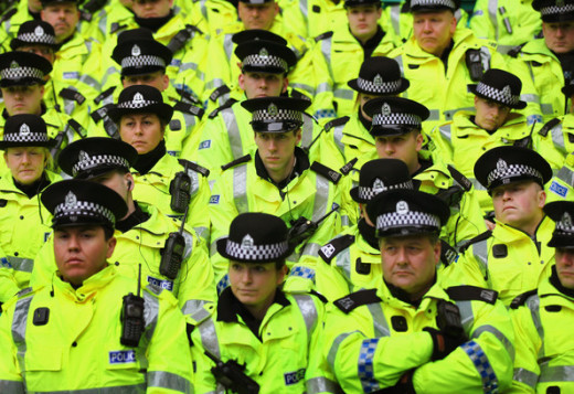 Police receiving a briefing prior to an Old Firm game