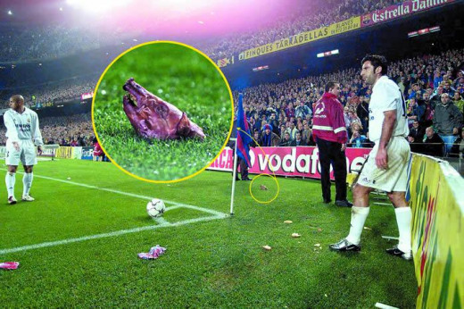 Pig's head thrown at Luis Figo
