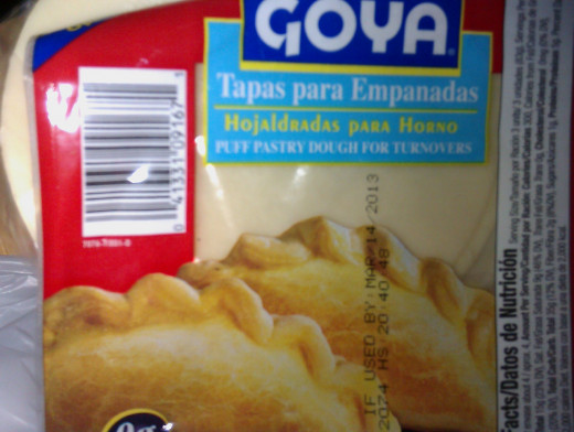 "Look for this or another brand of pre-made  empanada tapas (puff pastry for turnovers); if you want to bake yours, make sure they are ""hojaldradas."""