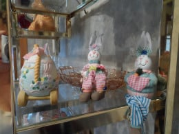 ceramic and fabric sitting bunnies from a dollar store