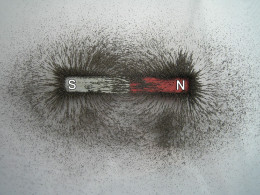 Bar magnet and iron filings replicate magnetic fields emanating from the Earth.