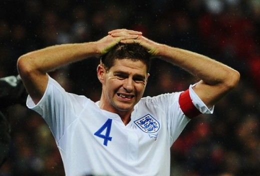 A disappointed Steven Gerrard