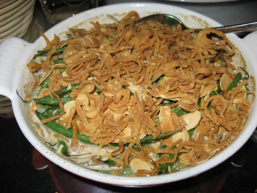 Green Bean Casserole Topped with Fried Shallots