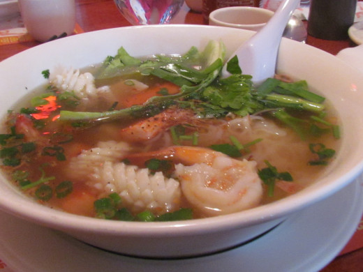 For dinner we ordered the luscious tasting Hu Tieu Do Bien which is a Rice Noodle Soup with fresh Seafood. It was outstanding.