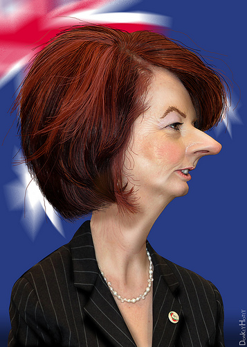 Julia Gillard- Caricature from DonkeyHotey's Photostream  Source: flickr.com