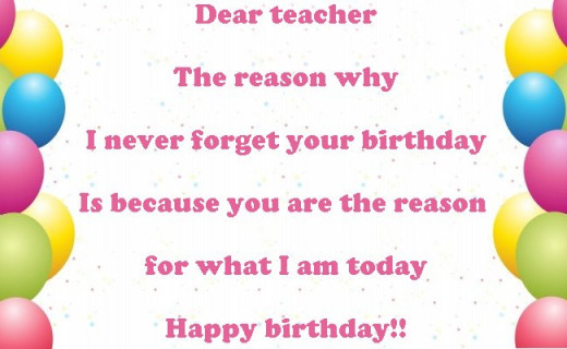 Birthday Wishes Quotes To Teacher : Birthday wishes quotes and poems for a teacher