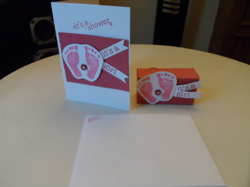 Handcrafted Baby shower invitation and paper box favor