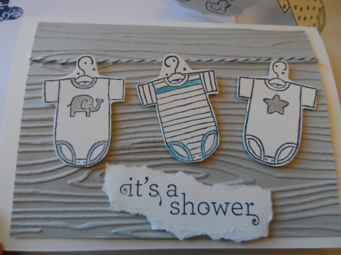 Handcrafted,stamped baby shower invitation