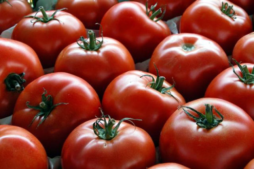 The benefit of getting tomatoes from a local farmer is that they will most likely be ripe whereas in the grocery store, they may be red, but they are not ripe.