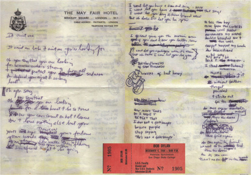 Reproduction of some handwriting lyrics by Bob Dylan