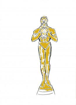 The original Oscar with wreath instead of sword.