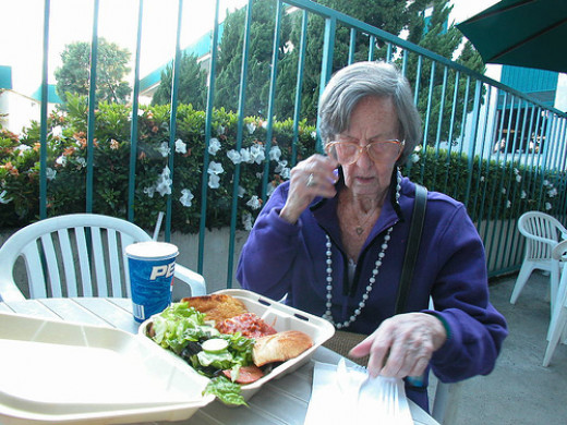 Alzheimer's patient forgets to eat.  Often people with Alzheimer's forget how to chew and choke..