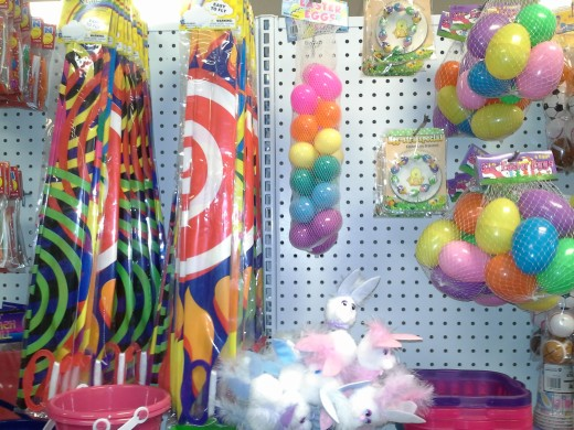Dollar Dept - Dollar store Easter Finds. Mini easter baskets, kites, sand pale with shovel, eggs and cute bunny pens.