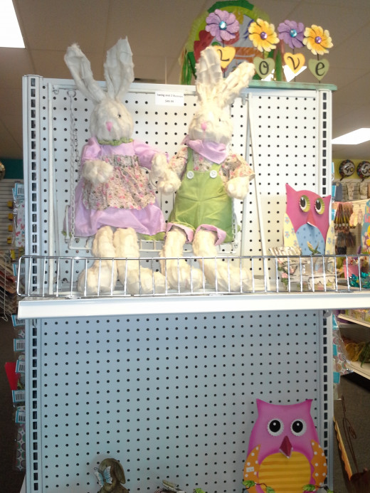 Special Easter Collectible. Two Bunnies on a Swing. (found in the Dollar Depot in Blue Springs, MO ($50) I have seen similar in Floral Shops and Hobby Stores