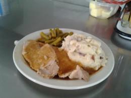 Pork Tenderloin dinner plated up.
