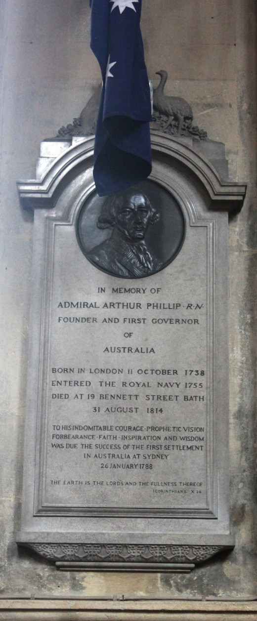 Memorial plaque to Captain Arthur Phillip, founder and first governor of Australia, in Bath Abbey.