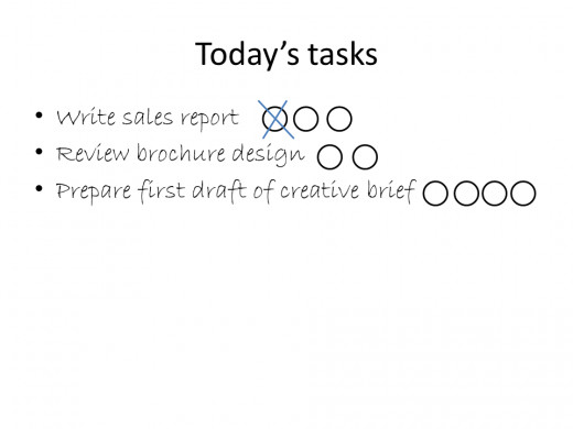 example of today's task sheet with one 20 minute chunk crossed out