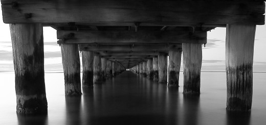Idea for photography -  black and white photography. A black and white photo taken under Rosebud Jetty in Rosebud on the Mornington Peninsula, Victoria, Australia.