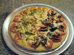 Yummy pizza with shitake mushroom