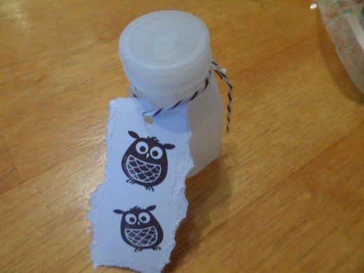 Stampin Up, embellishing, and stamping a tag to make a dollar store bubble bottle look sweet