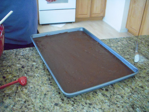 Smooth top of batter. Now it's ready to go into the oven. Bake for 20 minutes