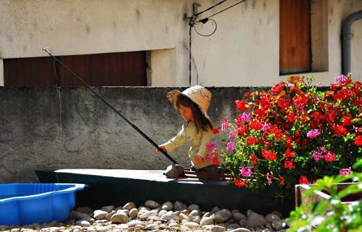 Fishing in a little French terrace garden
