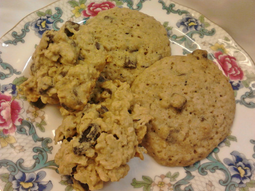 Chocolate Chip Oatmeal and Chunky Chocolate Chip Oatmeal Raisin Cookies
