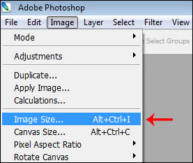 Navigating to the Image Size Function
