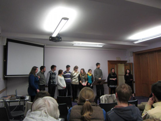 Our team presenting God's work in our school at Gilcomston Church, Aberdeen