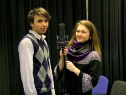 Gábor Tirpak and Sandy Magyar preparing to record our songs