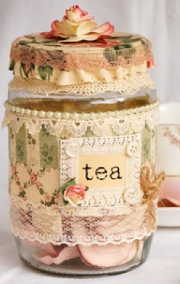 This is an example of a beautifully decorated Gift in a Jar.