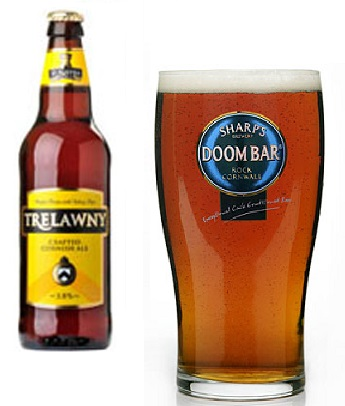 Amongst others I recommend trying the awesomely named Sharps Doom Bar, and St. Austells Trelawny. For non-English residents, any ale should be fine - though St. Austell have started supplying supermarkets across Europe