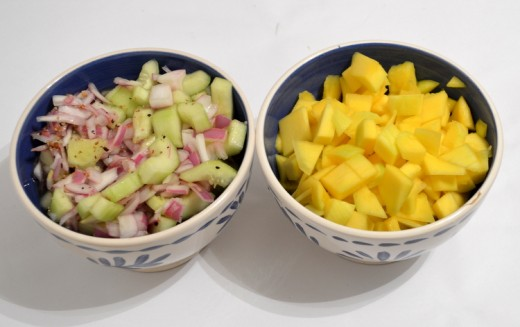 Quick pickled cucumbers and onions with chopped salsa.