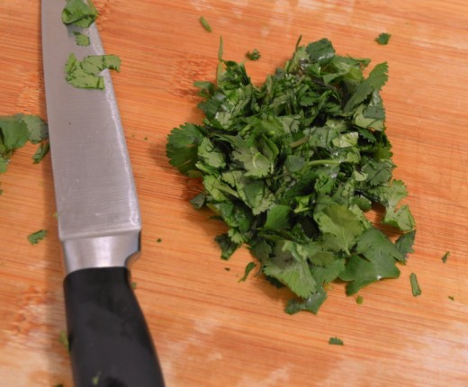 Chop about 1/4 cup of cilantro, or more, to taste.