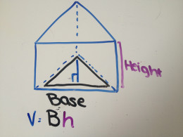 The volume of a prism is V=Bh