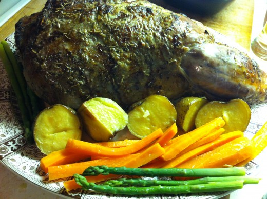 Roasted Leg of Lamb with Roasted Potatoes, Glazed Carrots & Steamed Asparagus