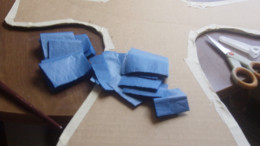For the backs of my crosses I cut out larger slips of tissue paper.