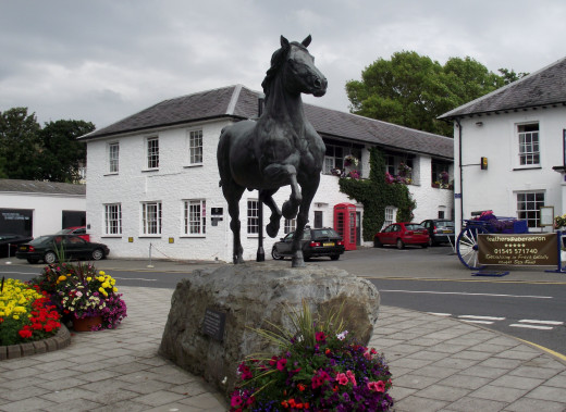 This beautiful statue stands across the road from The Featers Hotel.